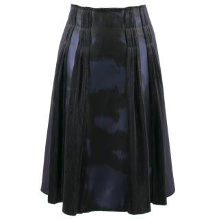 Bottega Veneta Black and Blue Patterned Skirt