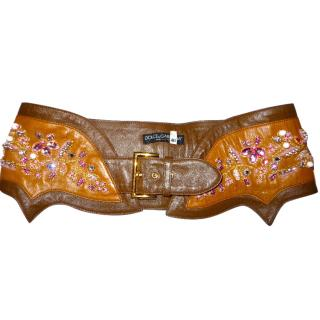 Dolce & Gabbana wide belt embroidered crystals and beads