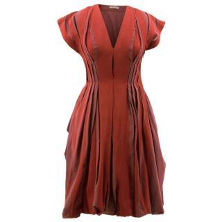 Bottega Veneta Red and Rose Pleated Dress