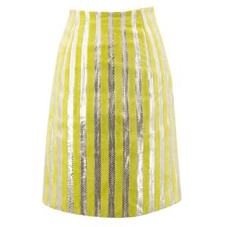 Prada Lime Green and Silver Striped Skirt