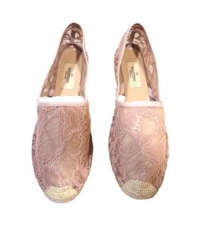 Valentino Pink Lace Espadrilles 38