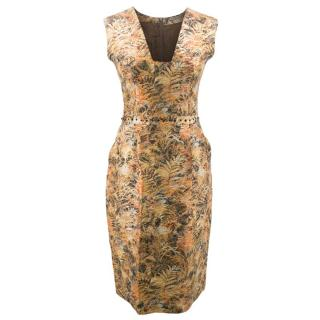 Bottega Veneta Floral Gold Patterned Dress