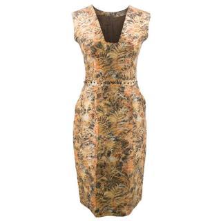 Bottega Veneta Floral Gold Patterned Dress