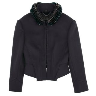 Burberry Navy Blue Jacket with Detachable Collar