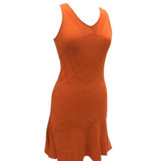 Versace orange knit cut out dress