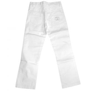 DIOR girls white jeans with CD crystal logo, size 5 years
