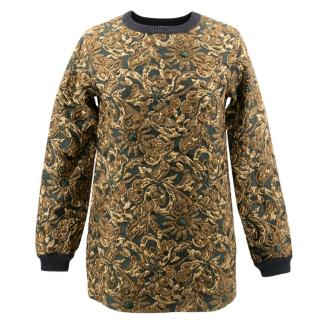 Dolce and Gabbana Green and Gold Patterned Jumper