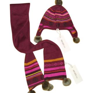 Kenzo Hat and Scarf Set With Pom Poms