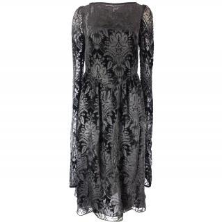 Givenchy Black Damask Jacquard Bodice Velvet Dress UK 8
