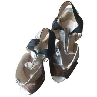 Prada Sliver and Bronze Heels