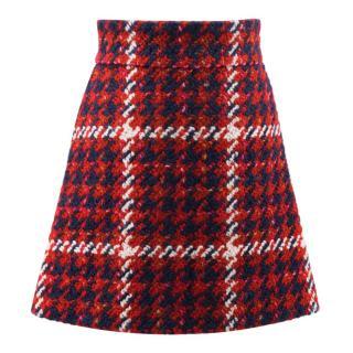 Miu Miu Check Wool Blend Skirt