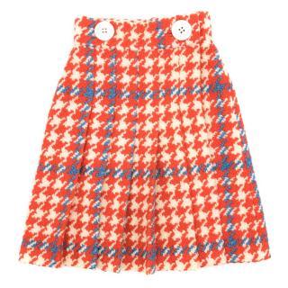 Miu Miu Check Orange and Blue Wool Blend Skirt