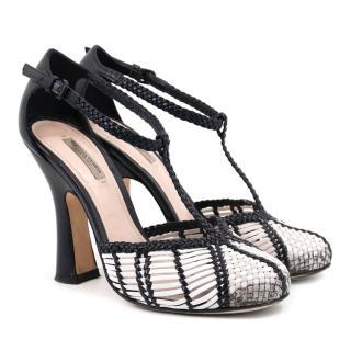 Bottega Veneta Black and White Woven Sandals
