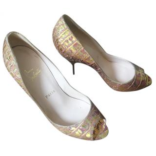 Gold Peep Toe Louboutin Heels
