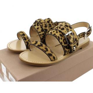 Gianvito Rossi leopard-print calf hair point-toe flats UK 5.5