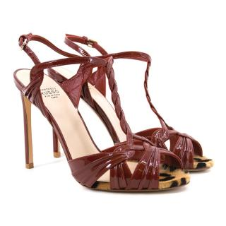 Francesco Russo Red Patent Leather Sandals