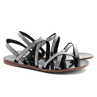 Pedro Garcia Zina Black Swarvoski Crystal Sandals