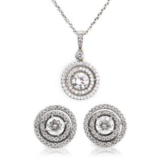 Christie's Auctions Pair of Diamond Earrings and Pendant Necklace