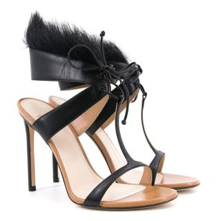 Francesco Russo Fur Embellished Leather Sandals