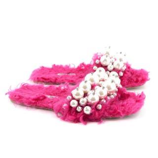 Miu Miu Pink Pearly Faux-Shearling Slides
