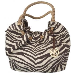 Michael Kors New Marina Zebra Canvas Brown Tote Bag