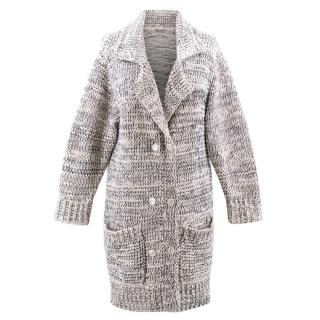 Bottega Veneta White and Navy Blue Knit Coat