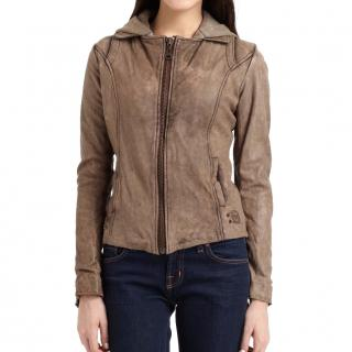 Doma distressed leather hooded jacket