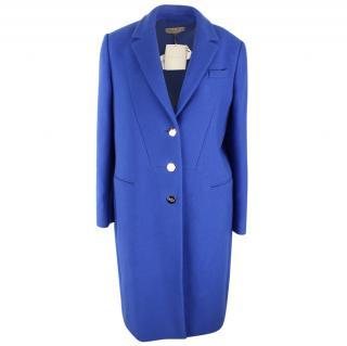Emilio Pucci Blue Wool Coat with Cashmere UK 12