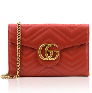Gucci Red Marmont Matelasse Mini Bag