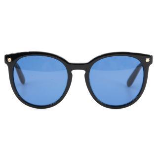 Salvatore Ferragamo Black Sunglasses with Blue Lens