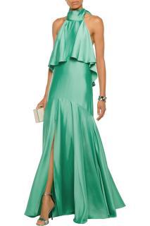 TEMPERLEY LONDON Luna Ruffled Satin Halterneck Maxi Dress