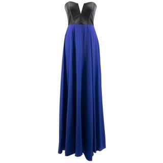 Mason Leather Corset Silk Maxi Dress