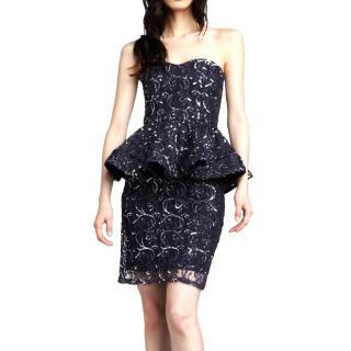 Alice + Olivia 'Elise' Sequined Lace Peplum Dress