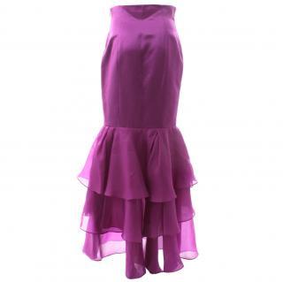CH Carolina Herera Silk Chiffon Evening Skirt