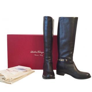 Salvatore Ferragamo Nando Black Leather Knee Boots Sz 6.5