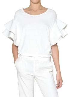 Chloe white cotton t-shirt top with ruffle sleeves