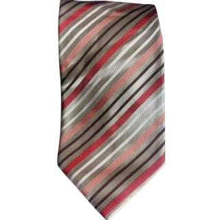 Dolce & Gabbana Silver Base With Multi Coloured Stripes Silk Tie BNWT