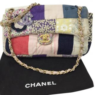 Chanel Cloth Patchwork Medium Flap Bag Pink