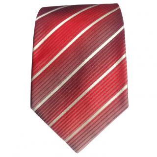 Hugo Boss Two Tone Red Striped Silk Tie BNWT