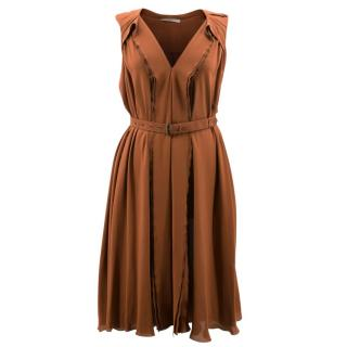 Bottega Veneta Burnt Orange Silk Dress