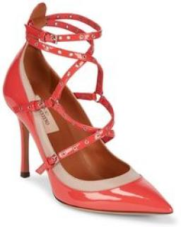 Valentino Love Latch Eyelet-Embellished Leather Pumps