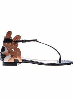 Sergio Rossi Women's Black 'matisse' Flat Sandals UK 7.5