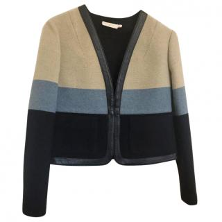 Tory Burch Leather-Trimmed Striped Knitted Jacket