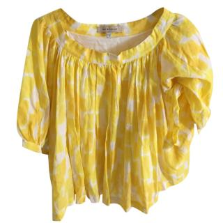 See by Chloe Yellow & White print top