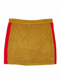 Bella Freud metallic camel knitted short skirt