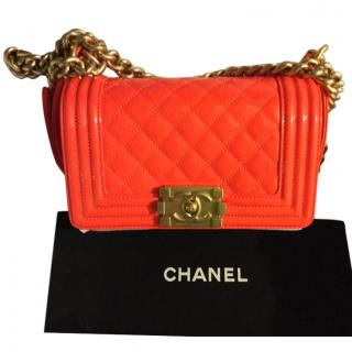 Chanel Small Patent Boy Bag Neon Orange Gold Shoulder Chain
