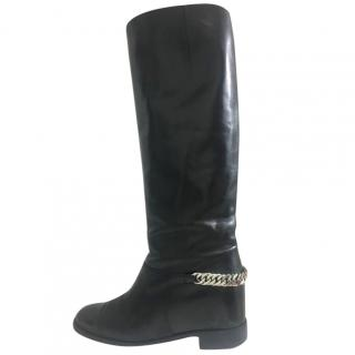 Christian Louboutin Knee Length Black Chain Boots