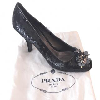 Prada Sequinned Open Toe Shoes