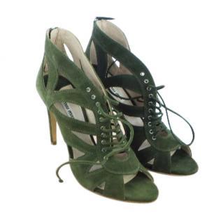 Miu Miu Green laser cut-out Heels