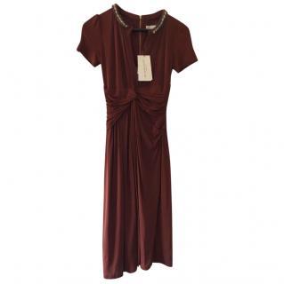 Burberry London SS12 viscose Short Sleeve Dress with Bead Detail